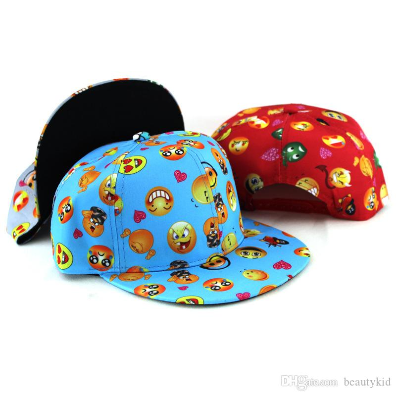 1005a210b354 Children Cap Boys Girls Emoji Print Baseball Hat Snapback Adjustable Hip  Hop Cap Cute Emoji Hats EMJ024 Cool Caps Flat Brim Hats From Beautykid