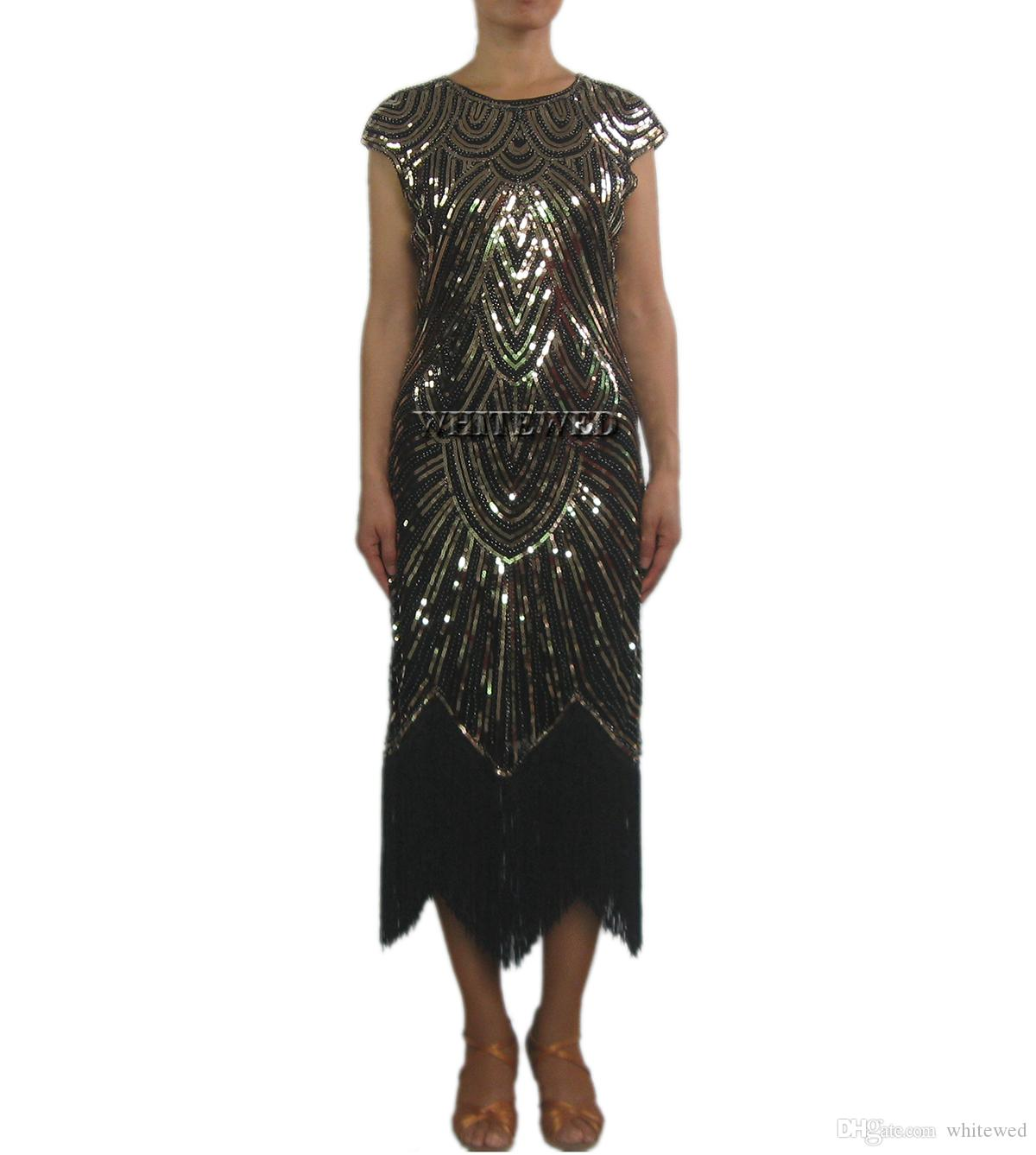 3c8540acb2 Compre Retro Beaded 1920 Vintage Art Deco Cocktail Flapper Dresses Traje  Long Jazz Era Flappers Gran Gatsby Costume Dress Style En Las Mujeres De  1920 A ...