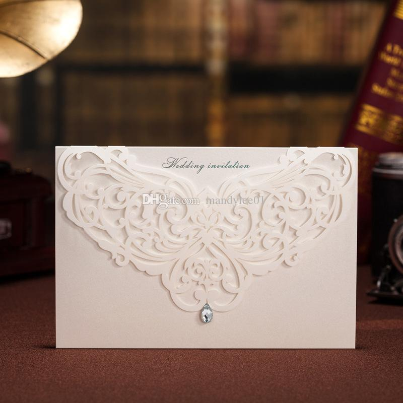 White Lace Wedding Invitation With Diamond