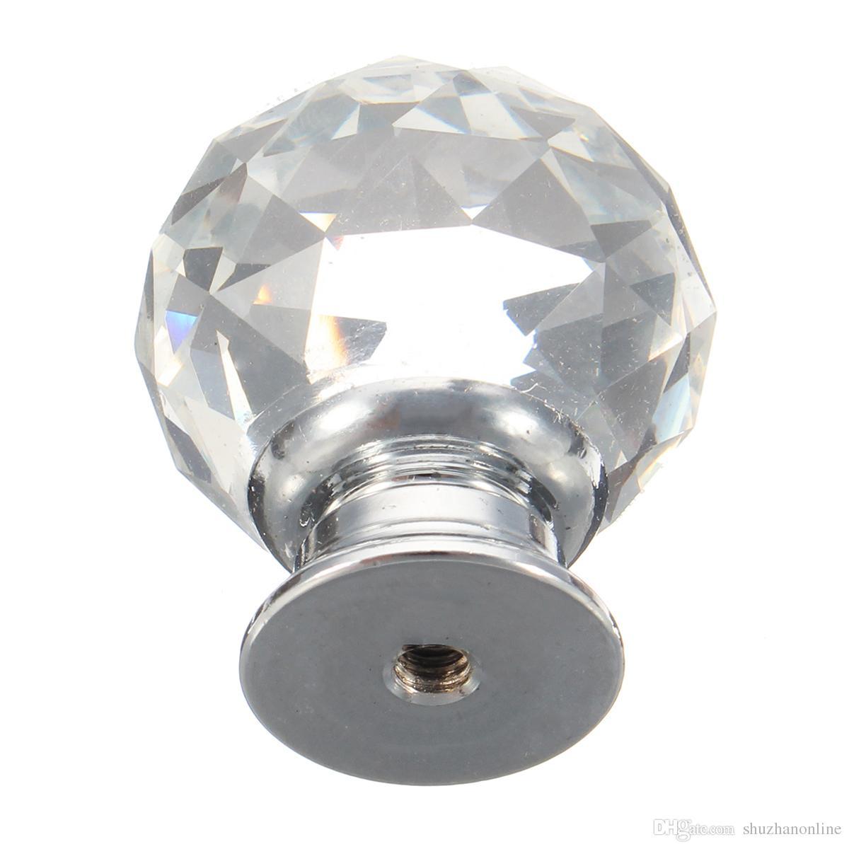 4шт 30мм прозрачный кристалл стеклянные дверные ручки ящик шкафа шкаф мебель тянуть ручки