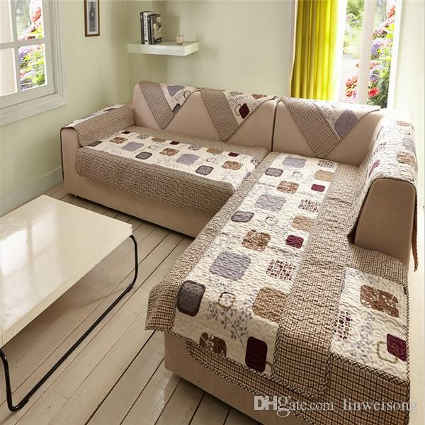 Durable Polyester L Shaped Sofa Covers Printed Sofa Cover