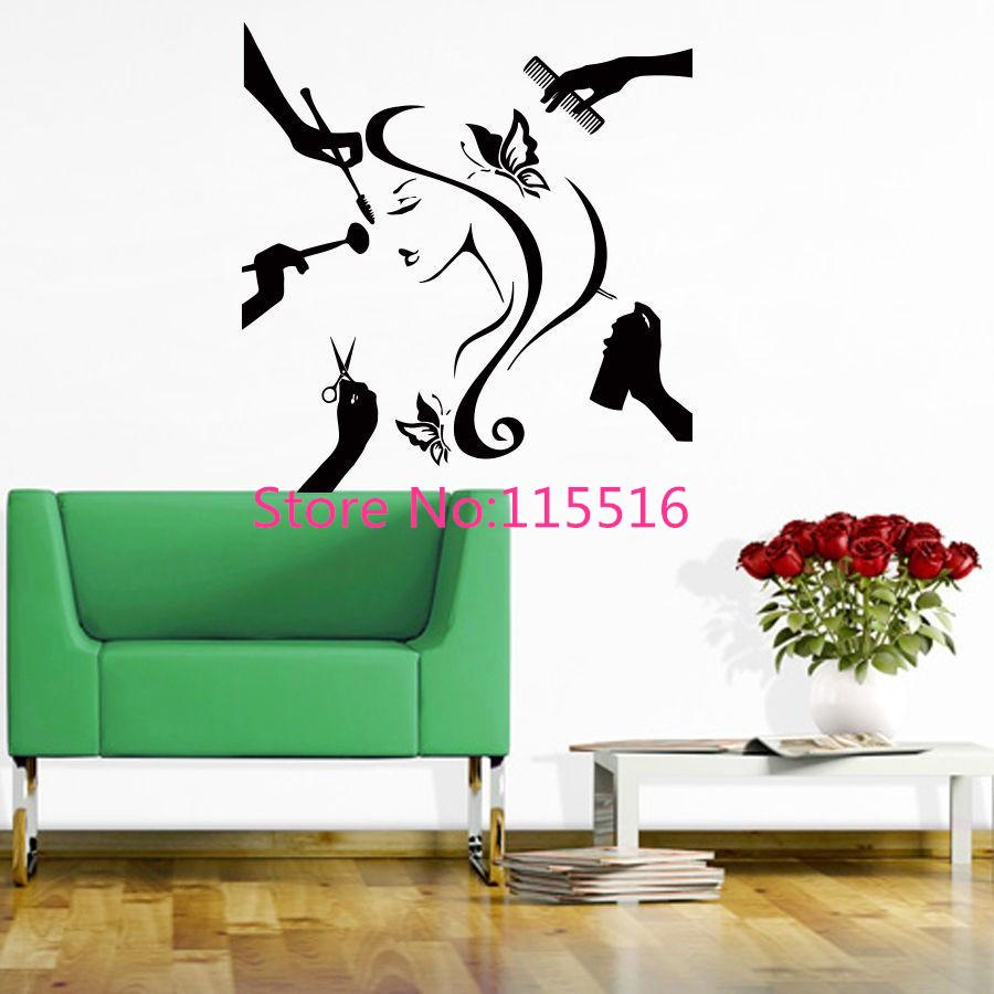 Beauty hair salon wall sticker fashion girl woman butterfly beauty hair salon wall sticker fashion girl woman butterfly scissors comb haircut hair dressing wall stickers for home decor wall art wall decals wall art amipublicfo Gallery