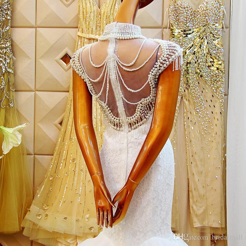 Luksusowe perły Syrenki Suknie Ślubne Wysokiej szyi Z Koronką Romantyczną Wedding Suknia Bridal Court Train Back See przez suknię ślubną