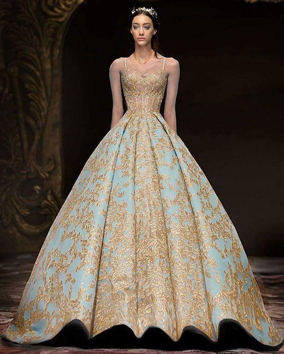 Michael Cinco 2018 Gold Lace Ball Gown Prom Queen Dresses Modest Illusion Long Sleeve Sky Blue Plus Size Dubai Arabic Evening Dress