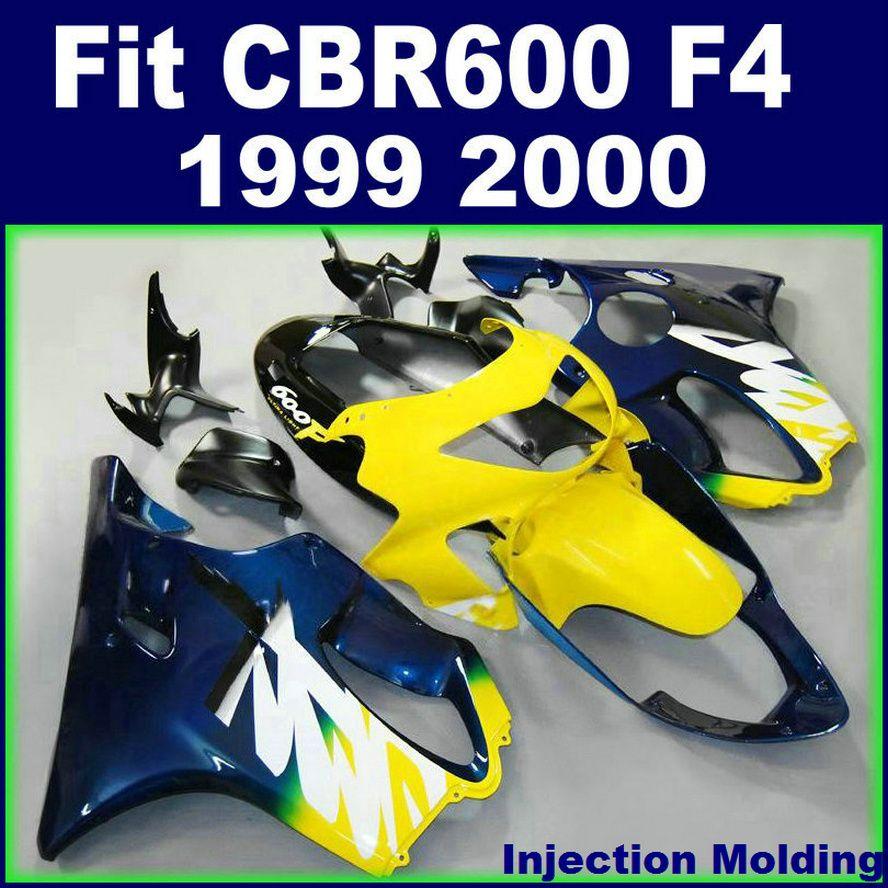 7Hifts + Enjeksiyon kalıplama HONDA fairings CBR600 F4 1999 2000 için özelleştirmek sarı siyah 99 00 cbr 600 f4 fairings kitleri OPAS
