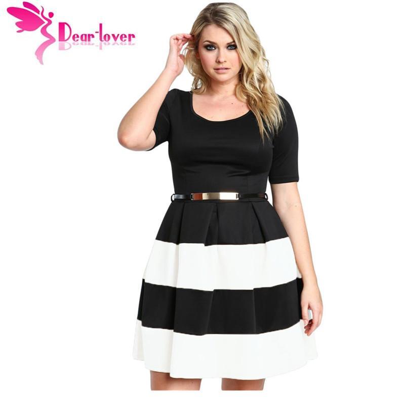 Dear-Lover Women Work Wear Short Sleeve A Line Burgundy Stripes Detail  Belted Plus Size Skater Dress Vestido LC22806 cheap price q1113