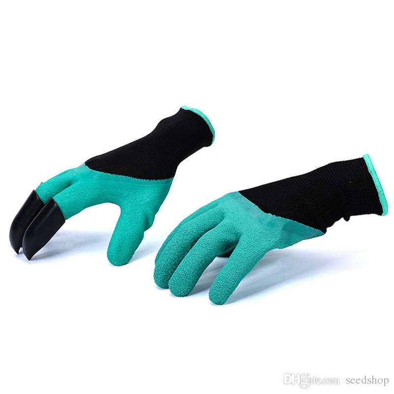 un par de venta Guantes de jardín de goma con 4 dedos de plástico ABS Garras para jardinería Rastrillo de excavación Plantación Guante de trabajo de látex