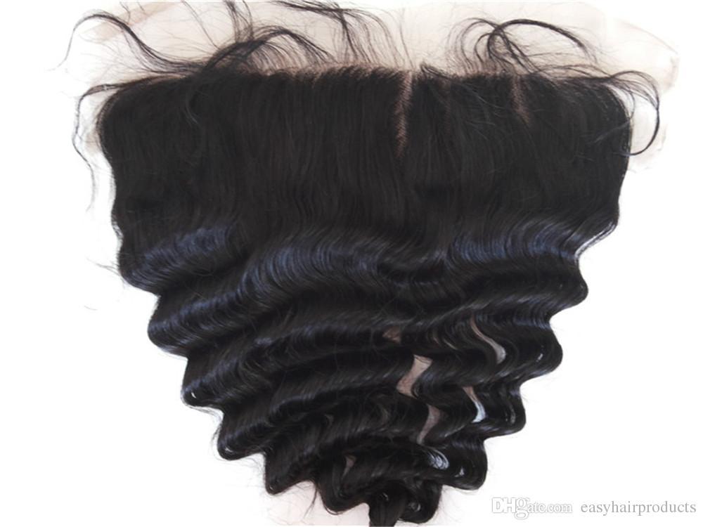 Brezilyalı Saç Demetleri ile Kapatma Kulak Dantel Ön Kapatma ile Gevşek Kıvırcık Gevşek Dalga Saç Örgüleri Dantel Kapatma G-EASY