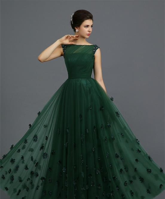 Sexy Bateau Neck 2015 Emerald Green Prom Dresses Ruffles New A ...