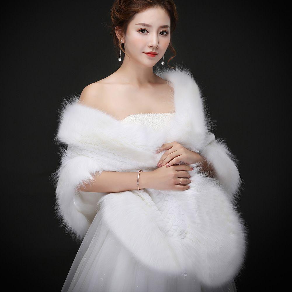Jane Vini Winter Wedding Faux Fur Jacket Plus Size White Party Prom Shawl Formal Bridal Jackets Wraps Stoles Bolero Fourrure Femme 2018