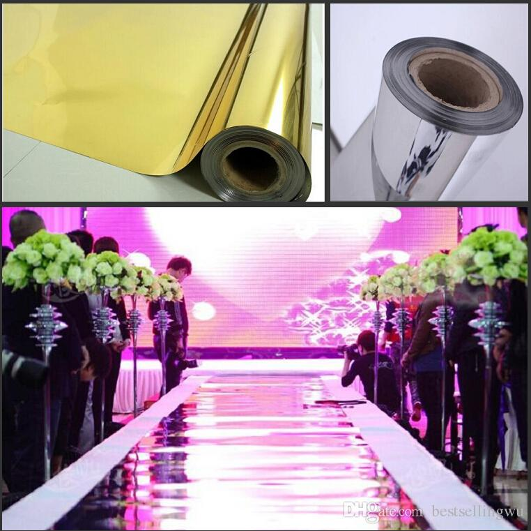10m Roll Luxury Wedding Centerpieces Gold Silver Double: 30m/Roll 1.2 M Wide Luxury Wedding Backdrop Decor Mirror