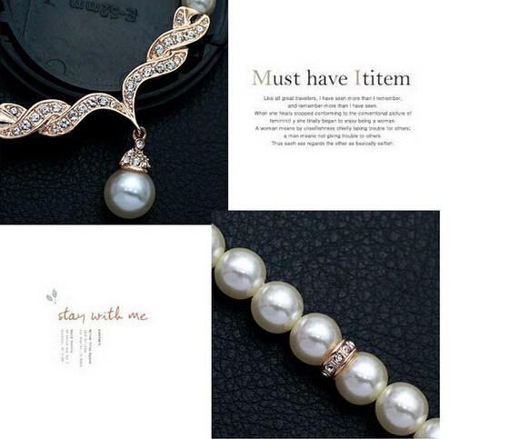 Conjuntos de joyería nupcial de oro rosa Crema de perlas de imitación Diamante de imitación Cristal Diamante Collar y aretes de boda