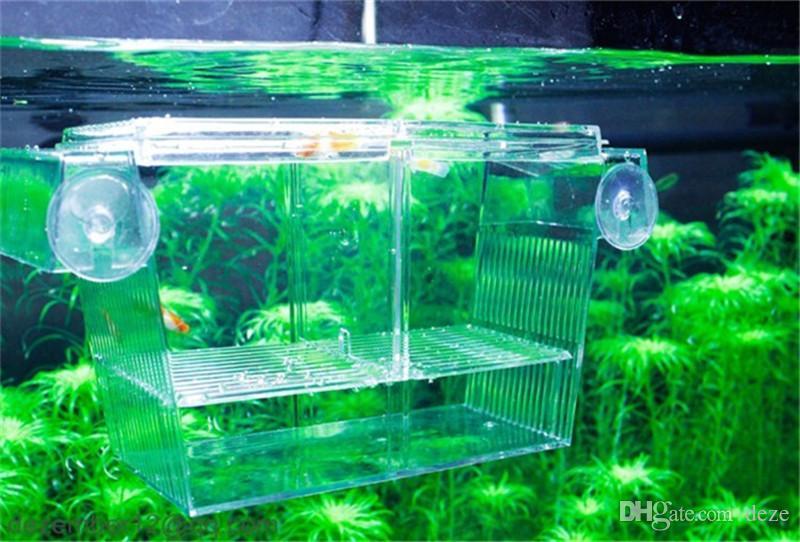 S / L Großhandel Aquarium Fischzucht Box Kunststoff Tank Fry Trap Hatchery Schwimmende Brüter Isolation Fisch Baby Hatchery
