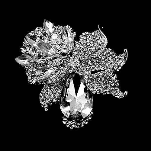 3.2 Inch Bronze Plated Extra Large Green Rhinestone Crystal Diamante Floral Brooches and Pins for Wedding