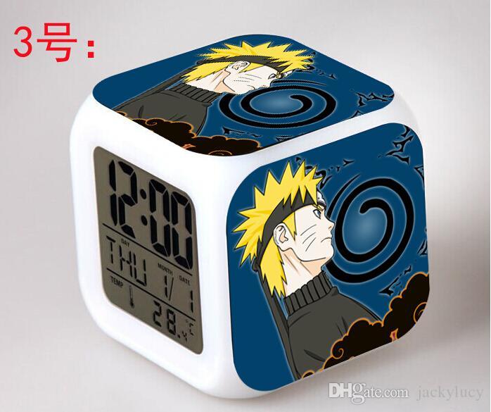 Nouveau 2016 Fashion Cartoon Anime Figure Naruto LED Colorful Digital Alarm Clocks Night Light pour les enfants Best Gifts