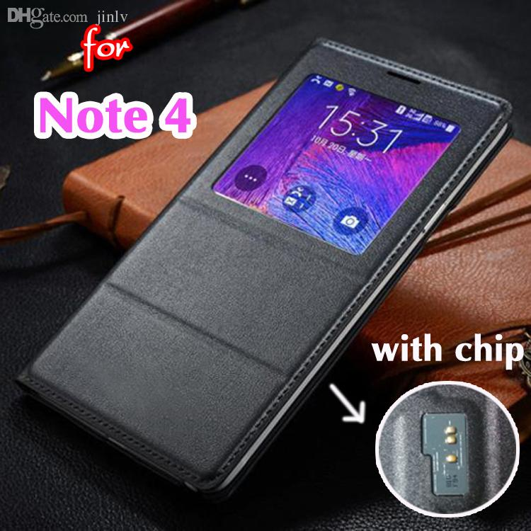 Wholesale-Smart Original View Sleep Wake Up Function Flip Cover Leather Case Holster For  Galaxy Note 4 Note4 N910 N9100