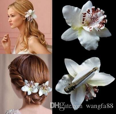 new fashion Women Girl Bohemia Bridal Flower Orchid Leopard Hair Clip Hairpins Barrette Wedding Decoration Hair Accessories Beach Hairwear