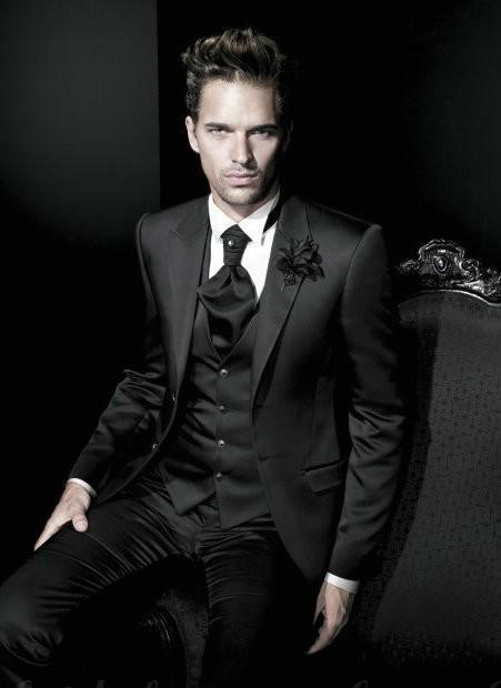 Cheap Black Wedding Suits For Men Peaked Lapel Mens Suits Slim Fit ...