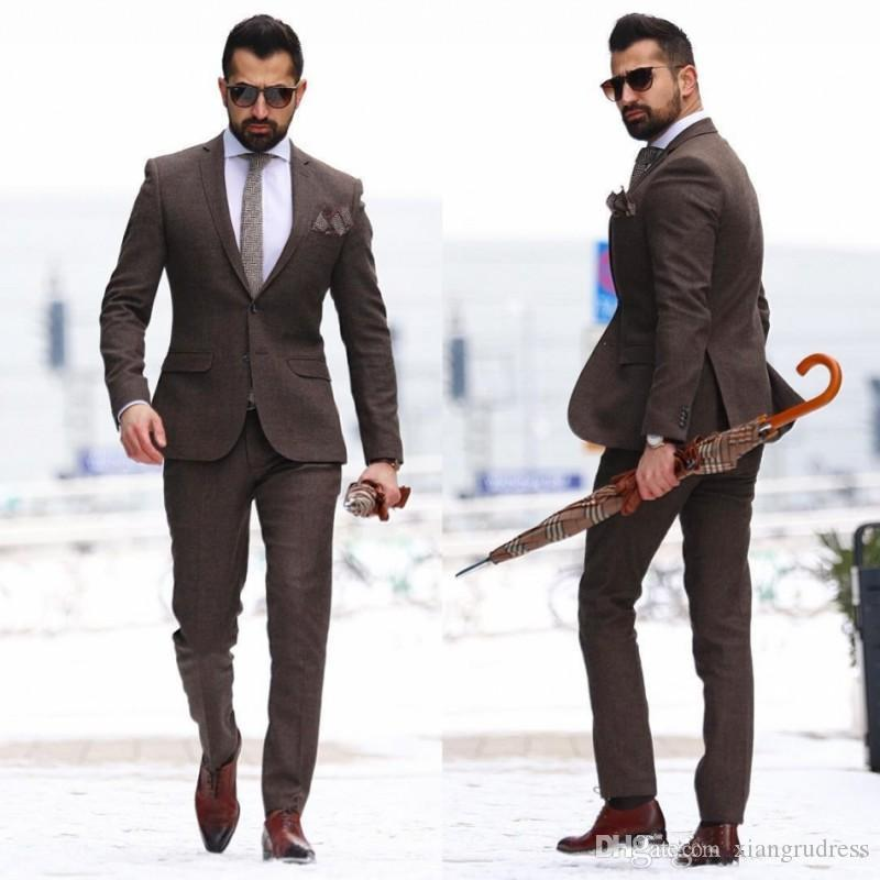 Two Pieces Mature Wedding Tuxedos Men Suits Plus Size Slim Fit Groom Wear Cheap Brown Mens Suit Custom Made Man