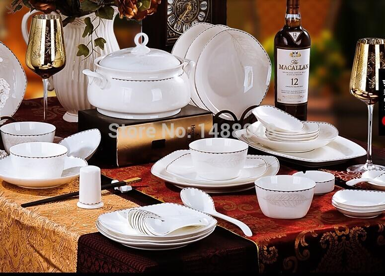 Jingdezhen ceramic crockery cutlery set 56 bone china tableware Korean dishes can microwave housewarming gift & Jingdezhen Ceramic Crockery Cutlery Set 56 Bone China Tableware ...