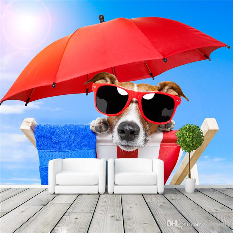 Funny Sunglasses Dog Wall Mural Sunlight Beach Photo