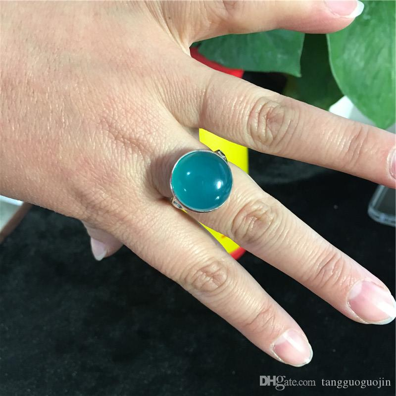 925 Sterling Silver amazonite Natural Stone Handmade Creative Designer Fine Jewelry Open Vintage Rings for Women Bijoux