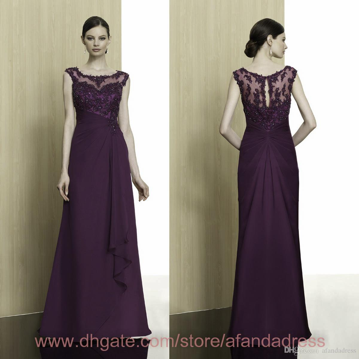 Royal Purple Mother Of The Bride Dresses Sexy Chiffon Lace ...
