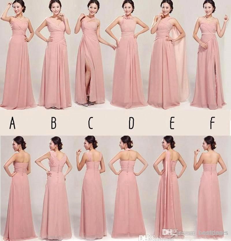 2015 Pale Pink Convertible Chiffon Long Bridesmaid Dress Party Gowns