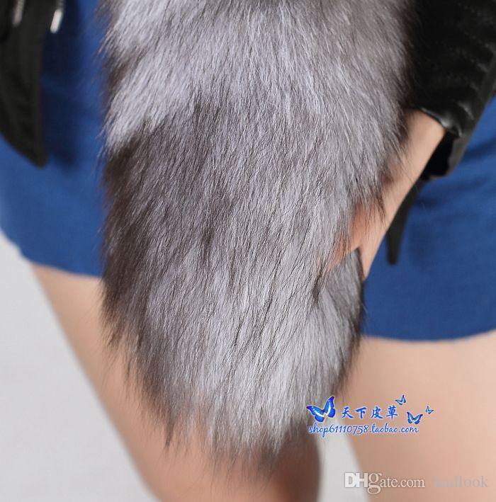 Tilki Kuyruğu Anahtarlık Gümüş Mavi Kürk Alopex Lagopus Çanta Aksesuarları Anahtarlık Halka Kanca Püsküller Doğal Renk Cospaly ToySupper Büyük Kabarık