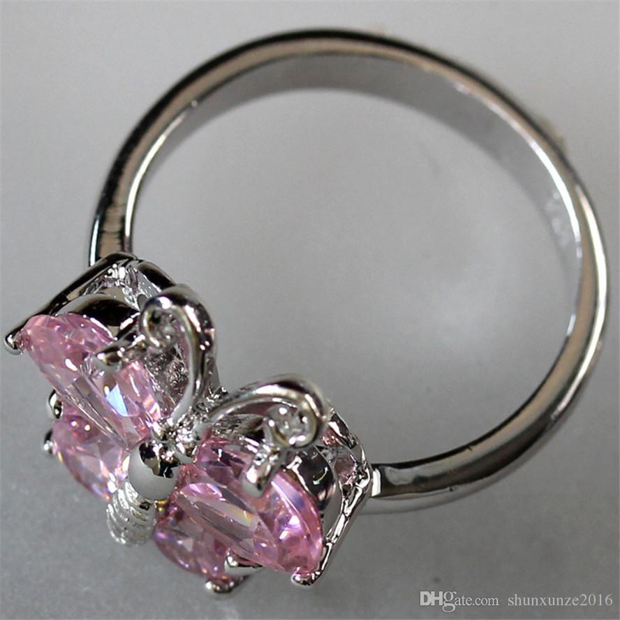 새로운 패턴 트렌디 고귀한 관대 MN519 sz # 7 8 9 아름다운 핑크 큐빅 지르코니아 낭만주의 구리 로듐 도금 여성 링 베스트 셀러