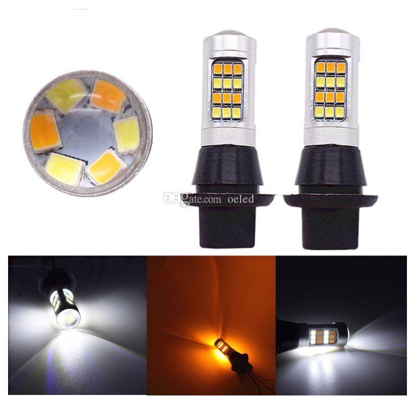 Daytime Running Light 1156 1157 T20 42 LED 2835 SMD Auto Car LED DRL Dual Color Switchback Mode Lights Turn Signal Lamp Bulb