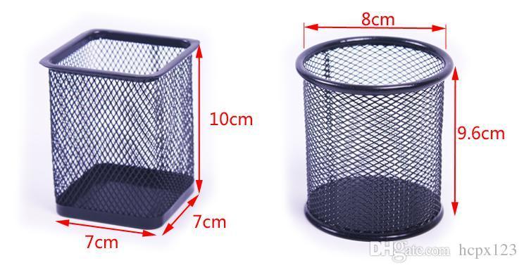 Yaratıcı kırtasiye moda yuvarlak çelik hasır plastik pas fırça pot masaüstü tüp almak