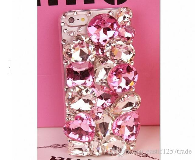 Pink blinbling rihinestone phone back cover case for samsung galaxy s4 s5 s6 s6edge s6 edge plus s7 s7edge note3 note4 note5