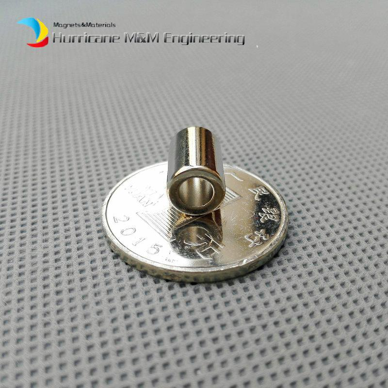 1 Pack NdFeB Magnet Ring OD 7.6X4.3x11.5 mm Diameter 0.3'' Round Strong Neodymium Axially Magnetized NiCuNi Coated Rare Earth Magnets