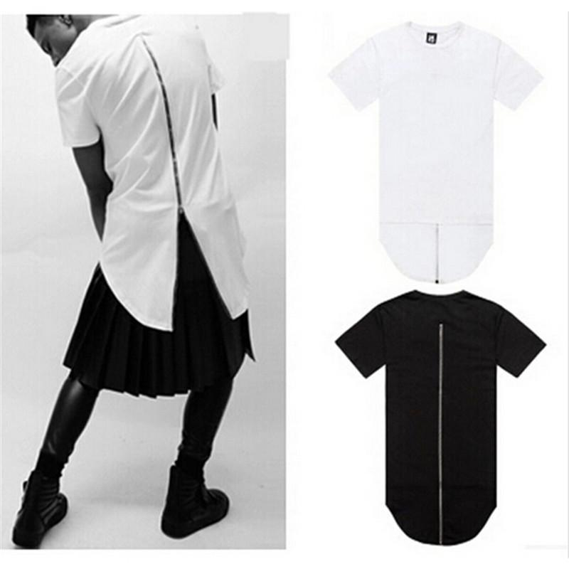 Men Black White T Shirt Dress Long Back Zipper Streetwear Swag Man ...