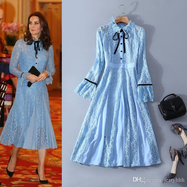 Princess Kate 2018 Fashion Women\'s One Piece Dress Brand Designer ...