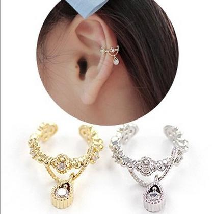 Fashion Jewelry Clip Earrings Gold Sliver plated Charms Women Ear Cuff Rhinestone Cartilage Clip On Earrings Non Piercing Ear Clips Free DHL