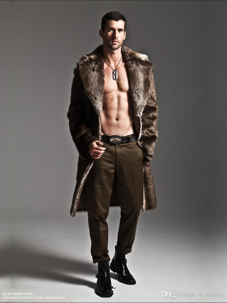 2017 Mens Black Faux Fur Coat Oversized X Long Outwear Shawl ...