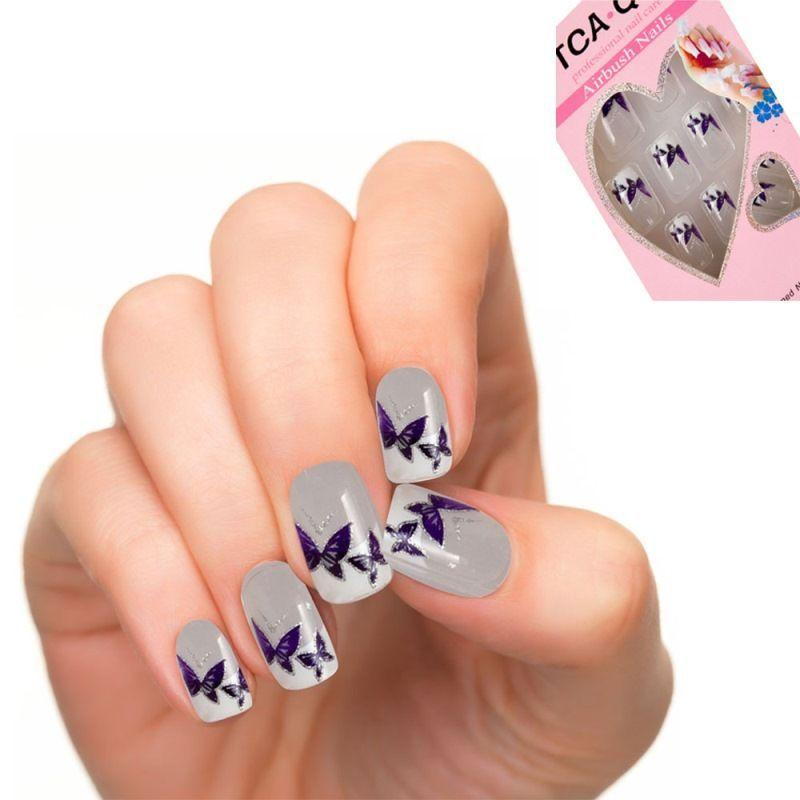 Wholesale Hot Full Cover False Nails Printed Flower Fake Nail Set ...