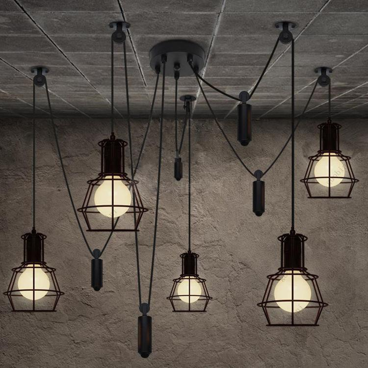 novelty spider pulley pendant lamp kitchen bar adjustable retro chandelier industrial lighting. Black Bedroom Furniture Sets. Home Design Ideas