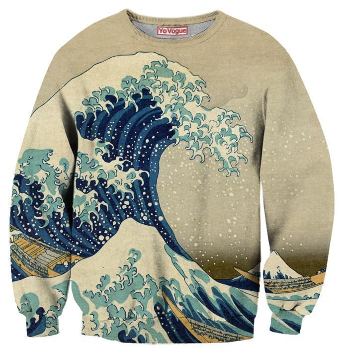 Fg Vintage The Great Wave Sweatshirt on Zip Your Lip Cartoon