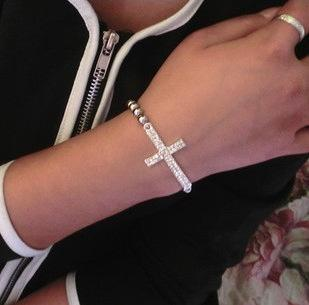 CHARM Cross / Infinity / Bar Beads Sideways Connector Bracelets Metal Beaded Jewelry