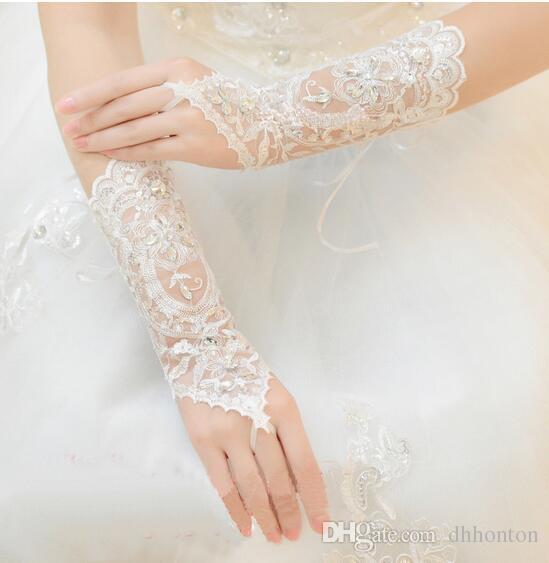 Gants de mariée sans doigts Ivoire Dentelle Gants Nuptiale Accessoires Perlés Longue Gants Gants De Mariage Dentelle Blanche HT75