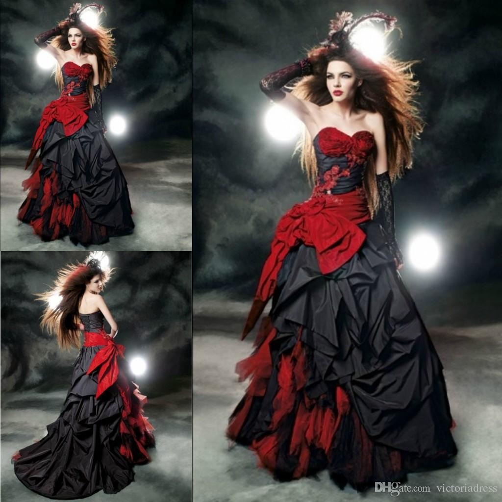Black And Red Ball Gown Wedding Dresses Sweetheart Taffeta Floor ...