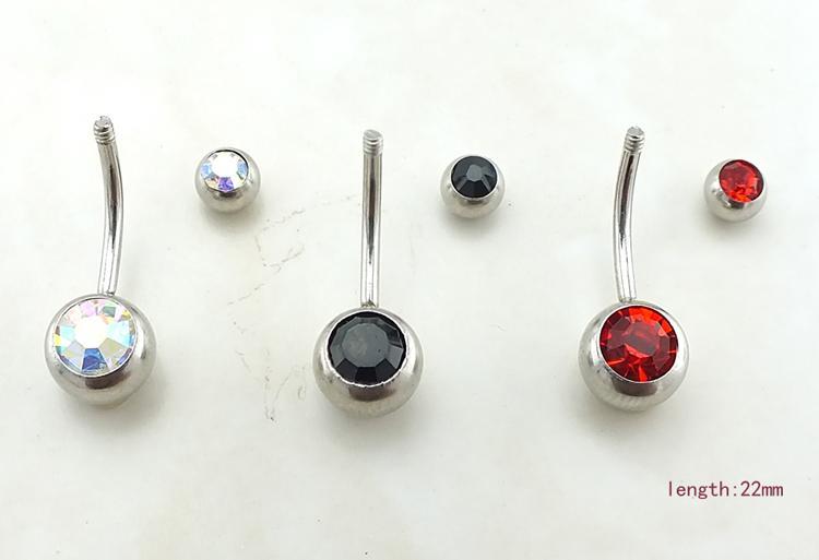 حار الأزياء السرة القضبان الفولاذ المقاوم للصدأ كريستال الكرة الحديد منحني البطن زر خواتم هيئة ثقب المجوهرات