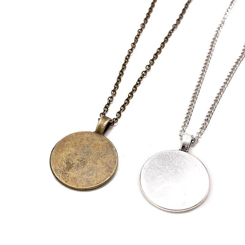 Großhandel Bronze 55 cm + 5 cm Gliederkette Halskette Legierung Basis Tray Lünette Blank Anhänger Halsketten Für Handgemachte 25mm Cabochon Schmuck
