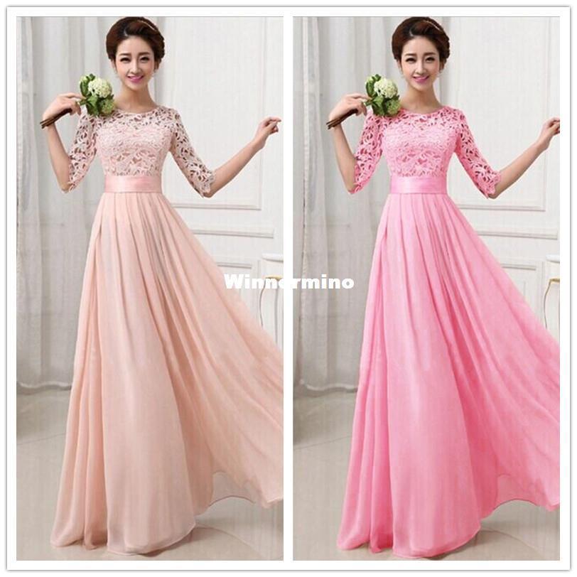 Compre 1511 2015 Mujeres Piso Longitud Vestidos Formales Rosados ...