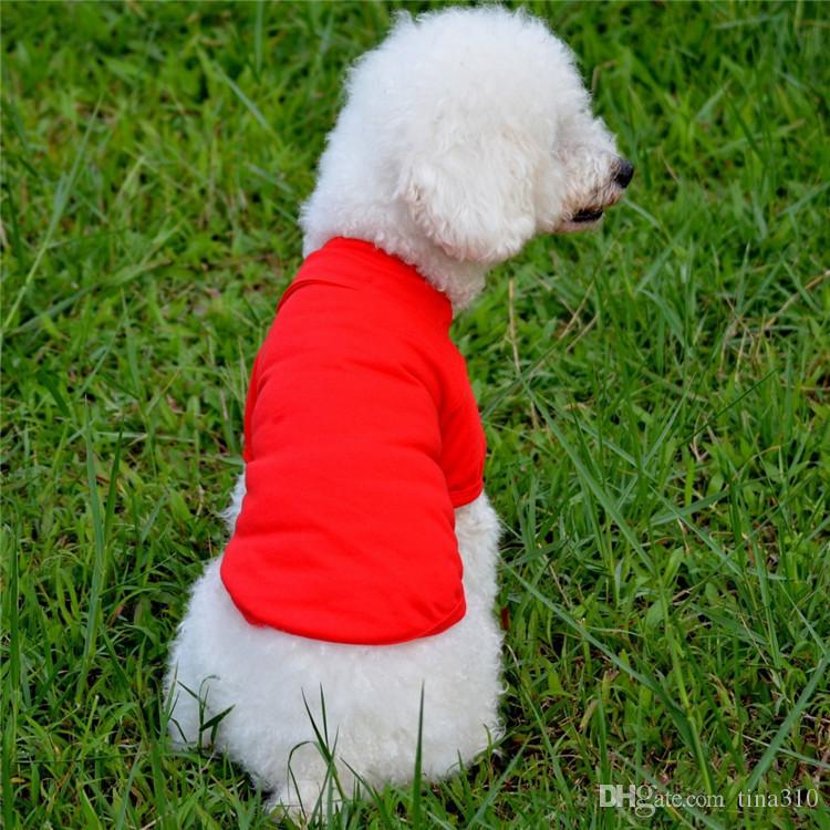 Pet TShirts 2017 Summer Solid Dog Clothes Fashion Classic T Shirts Cotton Clothes Dog Puppy Small Dog Clothes Cheap Pet Apparel IA907