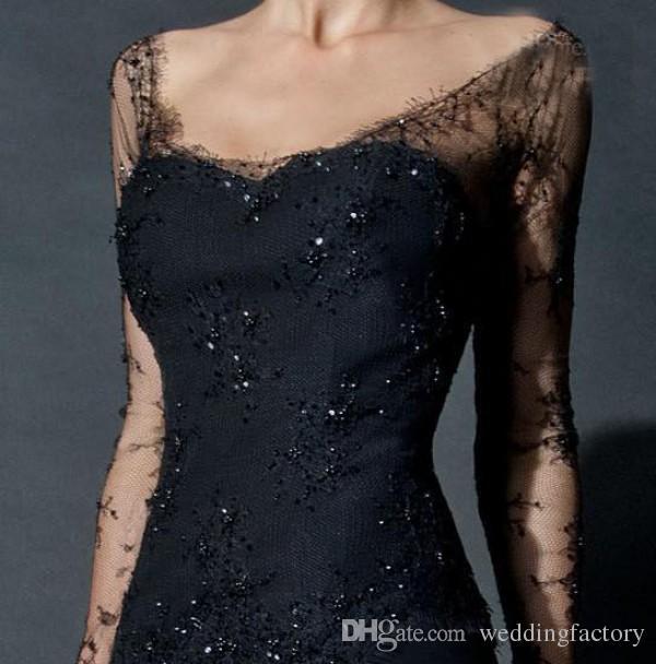 Black encaje árabe vestido de noche Vestidos de revestimientos de cucharada de cucharada de escote larga ilusión mangas de cuentas alto división formal vestido