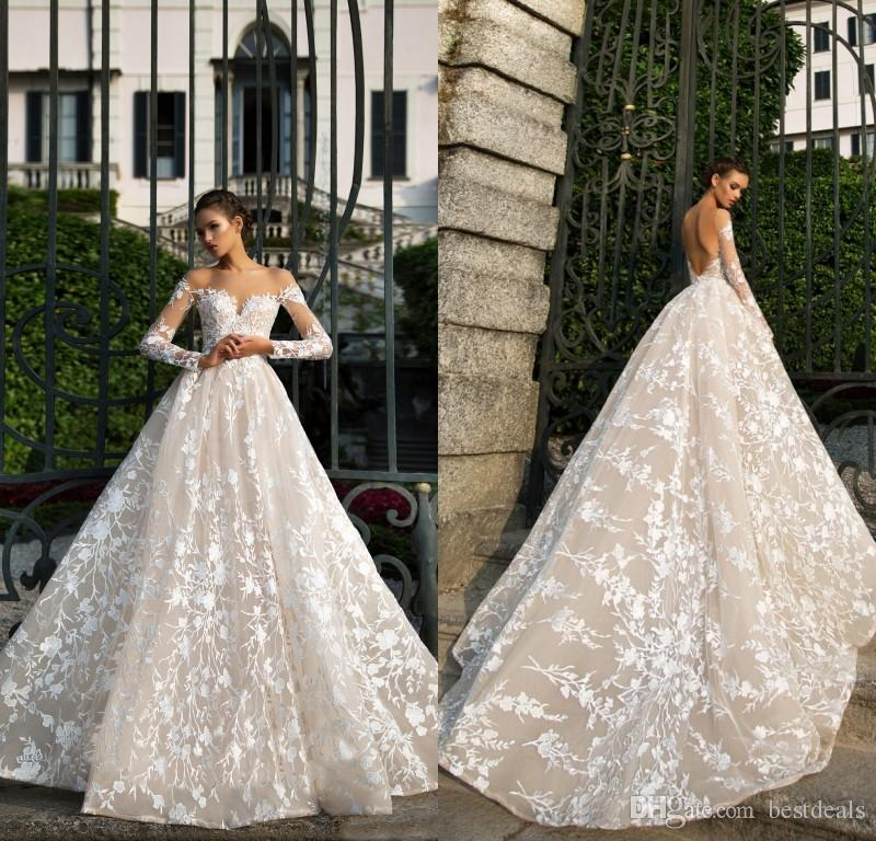 2018 Designer Spring New Long Sleeve Lace Wedding Dresses Illusion